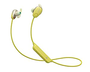 Sony WI-SP600NP Cuffie Wireless Sport Intrauricolari, Noise-Cancelling, Water-Proof IPX4, Giallo (Esclusiva Amazon)