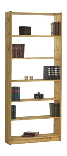 Steens Axel Bücherregal, mit 5 Einlegeböden, höhenverstellbar, 84 x 205 x 30 cm (B/H/T), Kiefer massiv, gelaugt geölt -