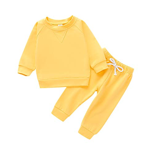 Livoral Toddler Kids Baby Boys Girls Solid Sweatshirt Pullover Tops Pants Outfits Set(Gelb,4-5 Jahre)