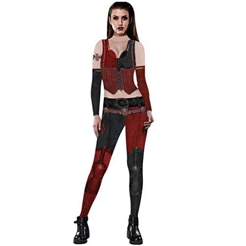 Für Mädchen Damen Erwachsene Kostüm Racer - Auiyut Damen Erwachsene Halloween Cosplay Bodysuit 3D Druck Kostüm Overalls Figurbetontes Gespenstisch Bodycon Karneval Fasching Kostüm