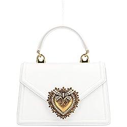 Dolce E Gabbana Mujer Bb6711av89380002 Blanco Cuero Bolso De Mano