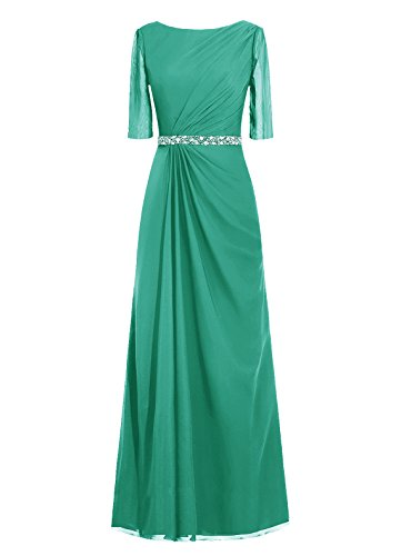 Dresstells, robe de soirée, robe de mère de mariée longueur ras du sol, manches 3/4 Vert