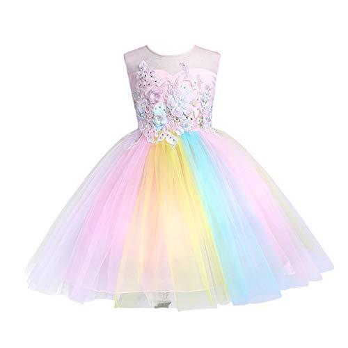 Baby Mädchen Prinzessin Kleid Hochzeitskleid Alwayswin Geburtstagsfeier Festzug Kostüm Blumen Regenbogen Tutu Mode Ärmellos Kurzes Kleid Sommer Frisch Süß Festliches Kleid
