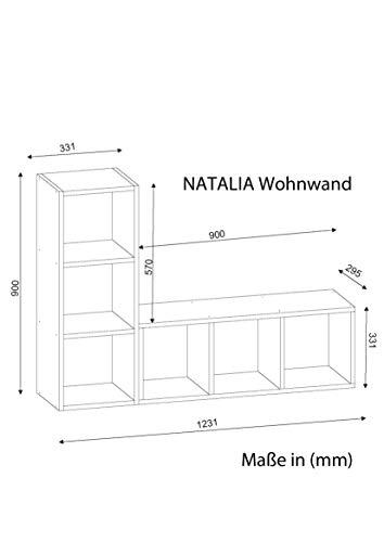 Wohnwand TV Medienwand Lowboard Anbauwand NATALIE in Weiß 1892 - 3
