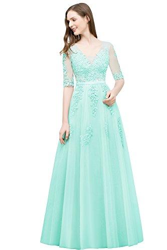 Damen Elegant V-Ausschnitt Tüll Abiballkleid Abendkleid mit Blumenstickerei Lang Mintgrün 46