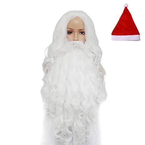 Bärtigen Einfach Kostüm - QTDH Santa Perücke - Weihnachtsperücke Bärtige Sets - Cosplay Perücken - Bloom Your Beauty - Mittellanges Lockiges Haar Mit Weihnachtsmütze