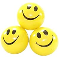 CRIYALE Medium Size Premium Pool Balls for Kids Smiley Face Stress Reliver Squeeze Soft Ball (Pack of 3)