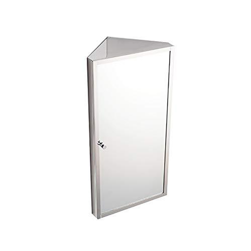 Armadietto angolare con specchio per bagno in acciaio inox triangle locker pensile multiuso da cucina medicina dell'organizzatore di immagazzinaggio con lo specchio, 11.81