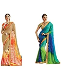 Mantra Fashions Women's Georgette Saree (Mant41_Multi)-Pack of 2
