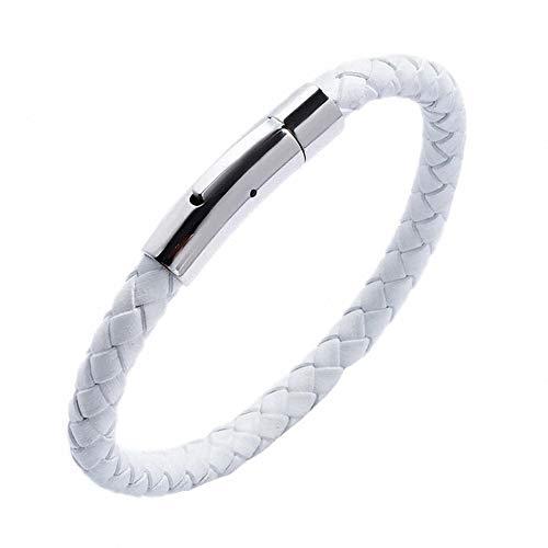König Design Lederkette 4mm Herren Halskette weiß 40 cm lang mit Verschluss Leder geflochten