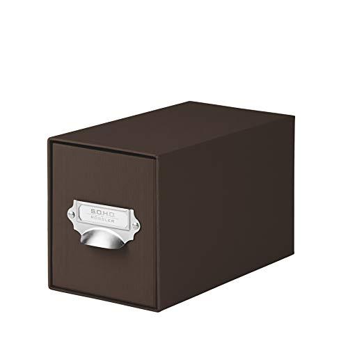 Rössler 1327452870 - S.O.H.O. Aufbewahrungs CD-Schubladenbox, mit beschriftbarem Einsteckschild und Griff, espresso -