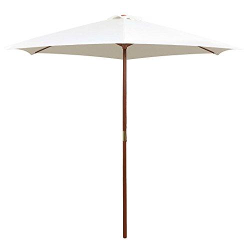 Festnight Sonnenschirm Gartenschirm Schirm 270×270 cm Holzstange Cremeweiß