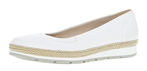 Gabor 22.400 Damen Ballerinas,Frauen,Flats,Sommerschuh,klassisch Comfort-Mehrweite,Weiss(Jute/Sw/grau),6.5 UK