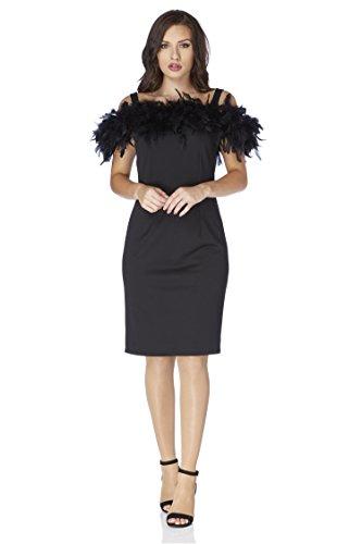 Roman Originals Damen Bardot-Kleid mit Federbesatz in Schwarz Größe 38-48 - Schwarz - Größe 46