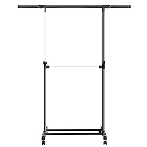 Busyall Fahrbarer Kleiderständer Garderobenständer höhenverstellbar mit 2 Stangen Inkl. Schuhablage