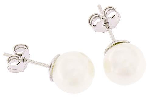 Orecchini di Perle naturali 5.5-6 mm e oro bianco 18 carati kt Miyu made in Italy