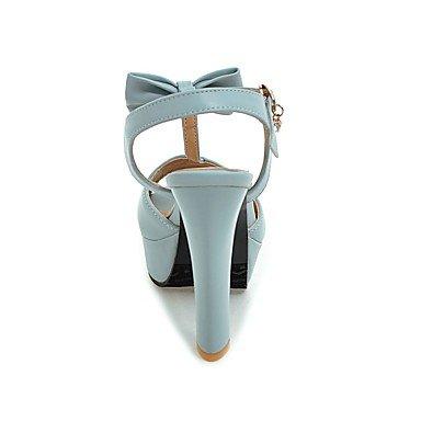 LvYuan Sandalen-Kleid Lässig Party & Festivität-Kunstleder-Blockabsatz-T-Riemen D'Orsay und Zweiteiler Club-Schuhe-Schwarz Blau Rosa Weiß Black