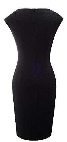 HOMEYEE Femmes V-cou élégante sans manches twill mince longueur de jambe Split Robe B365 Noir