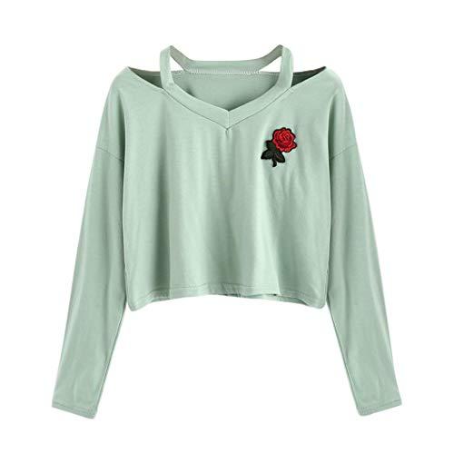 Damen Bekleidung, Quarter Zip Pullover, Dress Damen-Strickjacken, Grün, L, Fashion Womens Long Sleeve Sweatshirt Rose Print Causal Tops Blouse GN/L