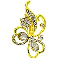 Anuradha Art Gold Finish Styled With Sparkling White Stones Unique Designer Traditional Brooch/Sari Pin For Women...