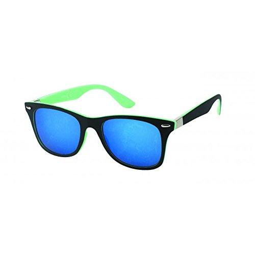 Chic-Net Sonnenbrille verspiegelt 400 UV Nerd Silberscharnier schwarz bunt Wayfarer türkis