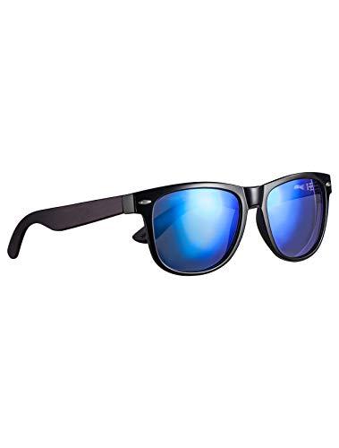 Amexi Holz Sonnenbrillen Polarisierte Sonnenbrille Schwarze Walnuss TAC Objektiv UV400 Sonnenbrillez/Der Rahmen der Brille ist aus Walnuss Holz/professionelle Sonnenbrille Herren (Grau) (Blau)