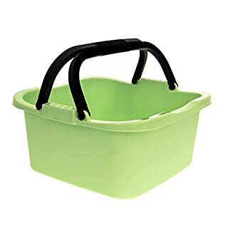 Arti Casa Plastic Rectangular Washing Up Storage Carry Cleaning Bowl with Handles (Pale Green)