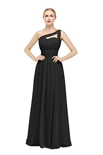 Bbonlinedress Robe de cérémonie Robe de demoiselle d'honneur forme empire une épaule longueur ras du sol Noir