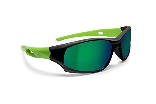 Bertoni Kinderbrille Sonnenbrillen 4 bis 10 Jahren - Polarisierende Gläser 100% UV Schutz - Kid Unisex Italy (schwarz/grün)