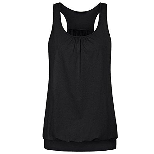VEMOW Sommer Elegante Frauen Ärmelloses Rundhals Runzlig Lose Fit Lässig Täglichen Sport Yoga Racerback Workout Tank Top Veat Tees(Schwarz, 46 DE/L CN) (Shirt Pailletten-tank-top)
