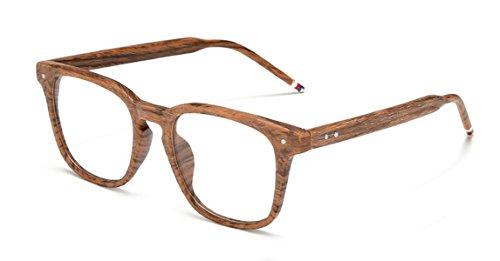 J&L GLASSES Retro Klassisches Nerd Klar Hornbrille Brille mit Fensterglas Damen Herren Brillenfassung holz Stil (WOODEN)