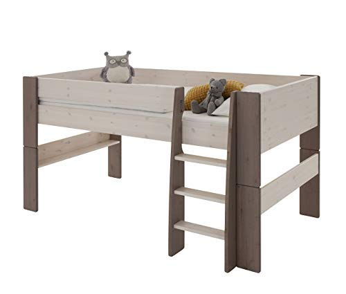 Steens For Kids  Kinderbett, Hochbett, inkl. Lattenrost und Absturzsicherung, Liegefläche 90 x 200 cm, Kiefer massiv, weiß,grau