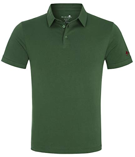 MAROJO Herren Polo Shirt Kurzarm Slim Fit Einfarbig Baumwolle Sommer Poloshirt (Grün, L)