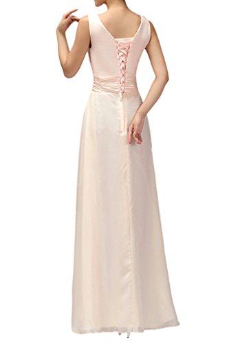 Promgirl House Damen Niedlich Chiffon A-Linie Brautjungfernkleider Set Abendkleider Ballkleider Lang Rosa2