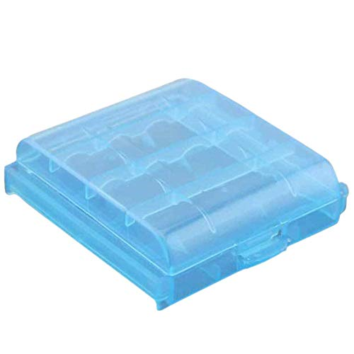E-CHENG Plastic AA AAA Battery Box Case Holder Storage Cover for 10440 14500 Container Portable Organizer (Blue) Aa Nicad