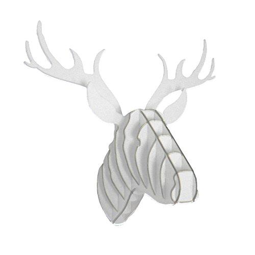 Shiraleah weiß Rentier Kopf aus Hartfaserplatte Puzzle Wandhalterung - Safari-wandhalterung