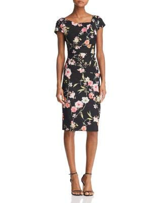 Adrianna Papell Womens Black Floral Cap Sleeve Jewel Neck Knee Length Sheath Party Dress Size: 14
