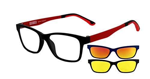 rainbow safety MagClip Sonnenbrille für Brillenträger Brillen Rahmen mit Polarisierte Magnetische Clip-Aufsatz RMCG (Rot-2 Clips)