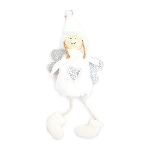 (Qiman Weihnachtsschmuck Dekor Engel Plüsch Puppe Spielzeug Weihnachtsbaum Anhänger Ornamente Dekoration (Weiß))