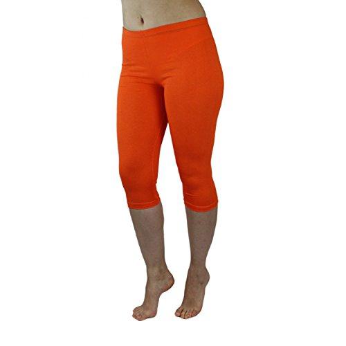 Blickdichte Leggings für Damen Capri Hose Leggins Bunt aus Baumwolle 3/4 Länge Orange