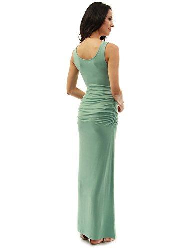 PattyBoutik Damen ärmelloses Sommer Maxi Kleid mit Rundhalsausschnitt und Seitenschlitz Hellgrün
