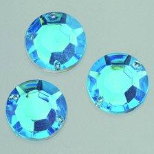 efco Facet 2Loch Gem Rose Dekorative Acryl-Stein, azur blau, 12mm, 75