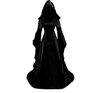 Damen Kleider Gothic Steampunk Mittelalter Langarm Elegant Kleid Abendkeider Renaissance Bodenlanges Kapuzenkleid Bodenlangen Cosplay Trompetenärmel Partykleide