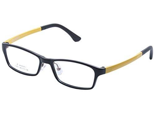 DEDING Kinder Acetate optische Brillenfassung mit Federscharnier DD1399 (Schwarz&Gelb)