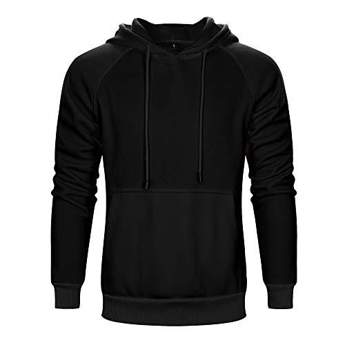 Aotorr Men's Long Sleeve Pullover Hoodie Sweatshirts with Kangaroo Pockets Solid Color Hoody Black Medium
