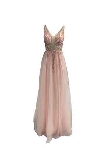 Tüll Fron Slit Prom Kleider Kristall A-Linie Abendkleid Perlen Sexy Prom Dress -