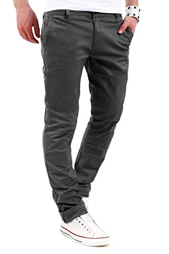 behype. Herren Basic Chino Jeans-Hose Stretch Regular Slim-Fit 80-0310 Dunkelgrau W30/L32