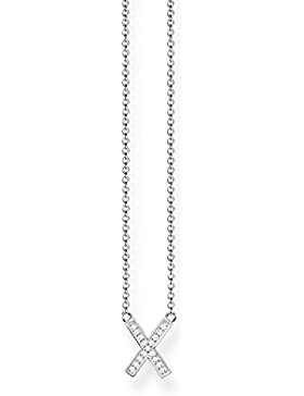 THOMAS SABO Damen Kette KE1657-051-14 925er Sterlingsilber Zirkonia Weiß Silberfarben, Weiß