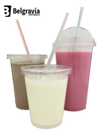 12oz Smoothie Cups mit gewölbtem Deckel & Strohhalme Clear Straw