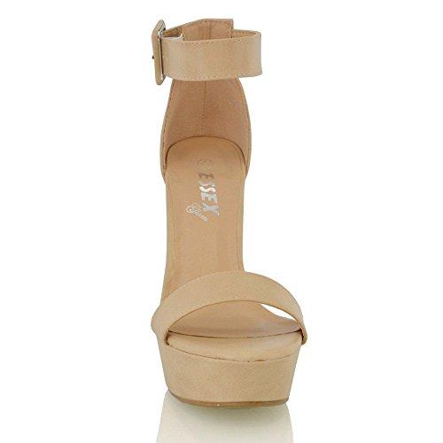 Essex Glam Sandalo Donna Pelle Sintetica con Plateau e Cinturino Caviglia Carne Sintetico
